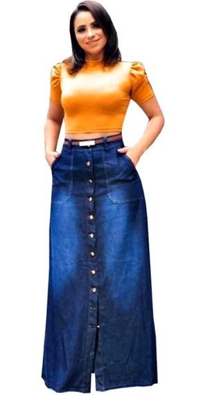 Saia Moda Evangélica Jeans Leve Longa Botões Evasê Madalena