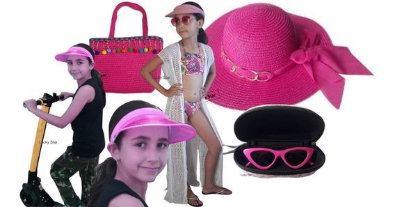 Bolsa Infantil + Chapéu + Viseira Anita + Óculos + Saída Kit