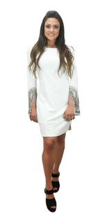 Vestido Branco Manga Flare Com Pedrarias - Rve00032