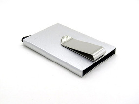 Porta Tarjeta Con Clip Para Billetes Slim De Aluminio Rfid