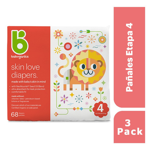 Pack X3 Babyganics Pañales Etapa 4, 68 Unidades Cada Pack