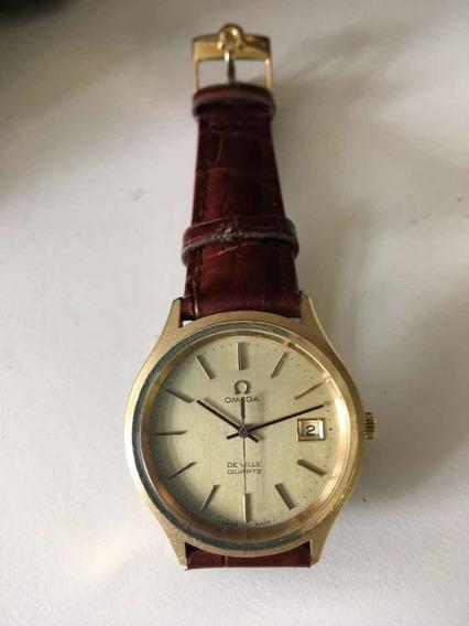 Relógio Omega De Ville Quartz Chapeado A Ouro...