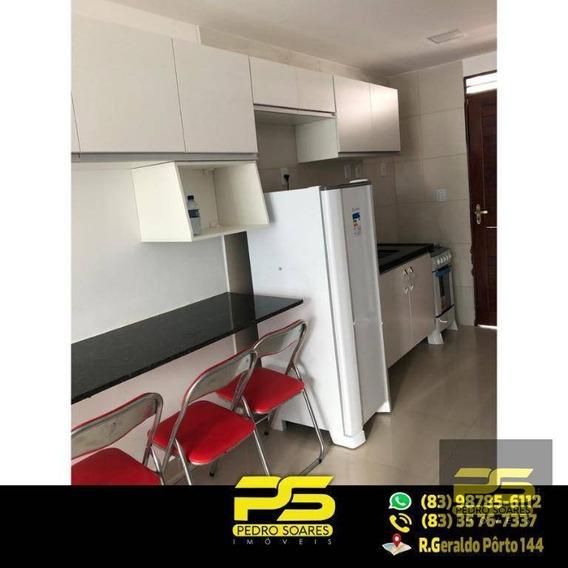 (mobiliado) Flat Com 1 Quarto, 30 M² Por R$ 1.300/mês - Tambaú - João Pessoa/pb - Fl0046
