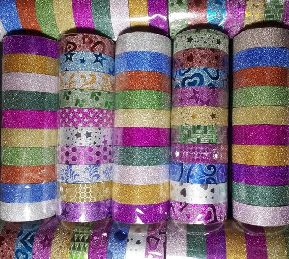 30 Fitas Adesiva Decorada C/ Glitter Washi Planner Scrapbook