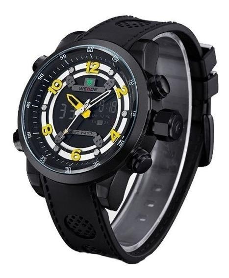 Relógio Masculino Weide Anadigital Pulseira Borracha Pt 3315
