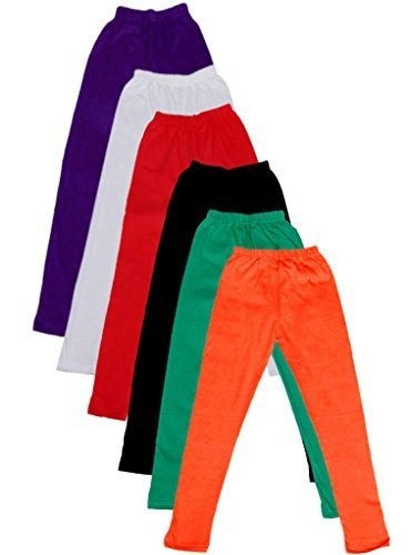 Indistar Little Girls Cotton Full Ankle Length Solid Leggings Pack of 5 -Multiple Colors-3-5 Years