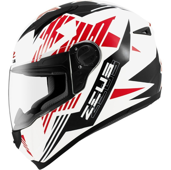 Capacete Zeus 811 Evo Top Gun Solid White Al28 Black Preto