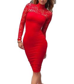Ropa Casual Dama. Vestidos De Likra Rojo, Negro. A