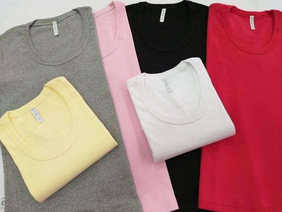 Camiseta Mujer X 3 Unidades Algodón Cuello Redondo M/corta