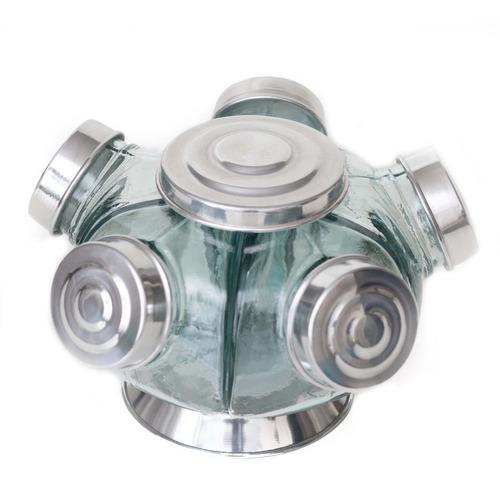 Imagem 1 de 3 de Baleiro Giratório Pequeno Alumínio Vidro Decoração Retro