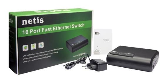 Switch 16 Puertos Bocas Red Lan Netis 10/100 Mbps Tp-link