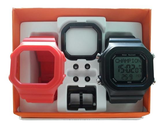 Relógio Champion Yot Original Cp40180x Preta Vermelha