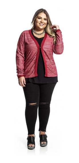Casaco / Cardigan Fem Plus Size Mescla Vermelho Rovitex Plus