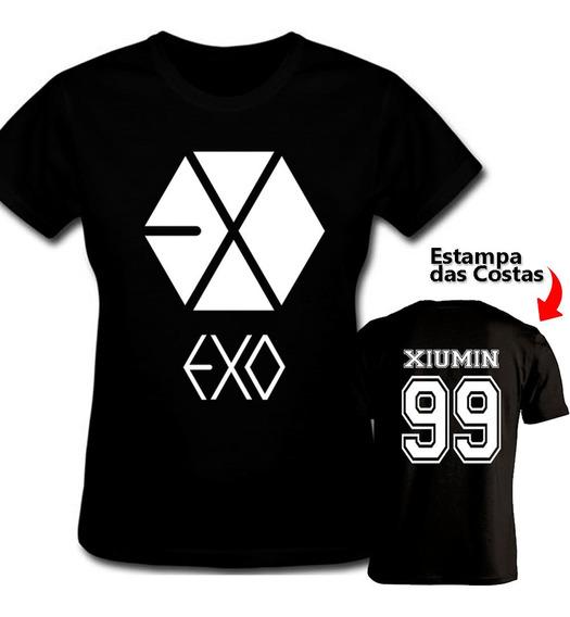 Camiseta Baby Look Exo Kpop Xiumin Estampado Nas Costas
