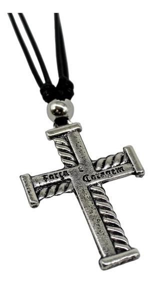 Corrente Colar Cordão Regulável Crucifixo Fé Coragem