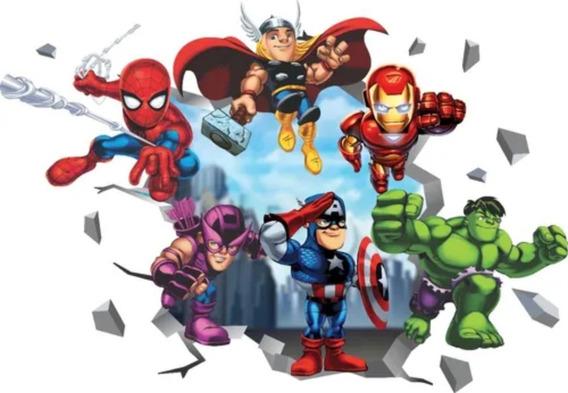 Adesivo De Parede Heróis Baby Capitão Thor Hulk Homem Ferro