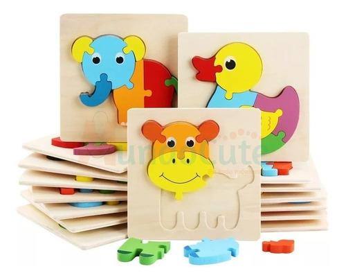 Imagen 1 de 4 de Promo 3 Rompecabezas 3d Montessori Animales