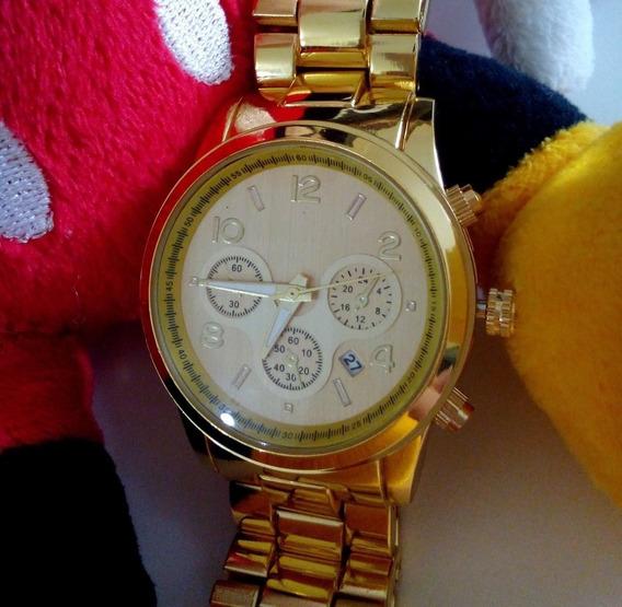 Relógio Feminino Dourado Grande Barato Promoção Atacado
