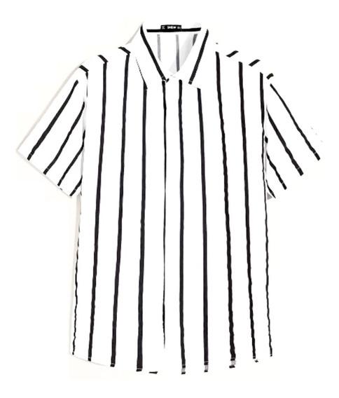 Camisa De Manga Corta De Rayas Verticales Color Blanco