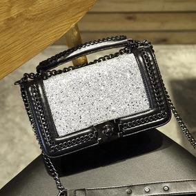 Bolsa Couro Caviar Glitter Lantejoulas Moda Feminina 2019