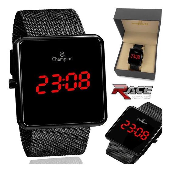 Relógio Champion Feminino Digital Quadrado Preto Ch40080d