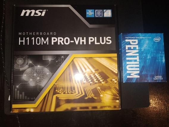 Kit Processador Pentium G4560 + Placa Mãe H110