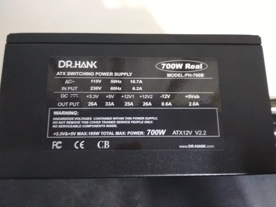 Fonte Atx 700w Dr.hank, Model Ph-700b V 2.2