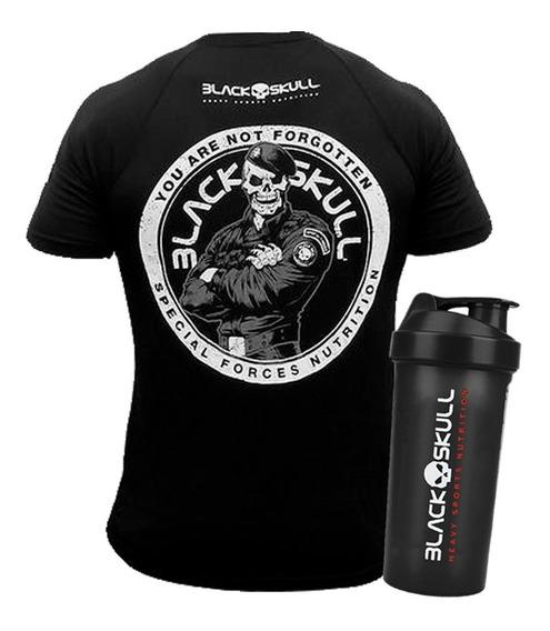 Kit Camiseta Dry Fit + Coqueteleira - Black Skull - Original