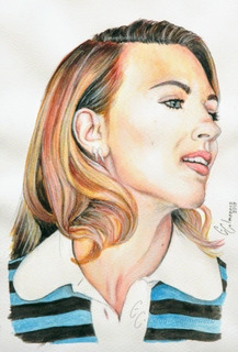 Dibujo Retrato Scarlett Johansson Acuarela Prismacolor Papel