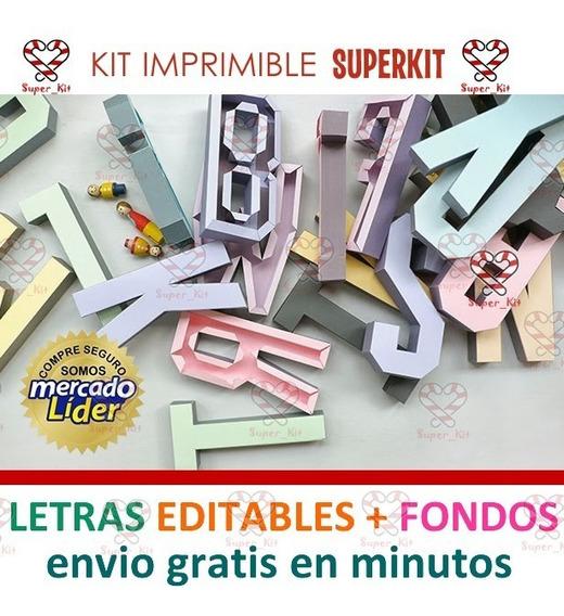Kit Imprimible Letras 3d Editables + Pack Fondos Hd + 2x1