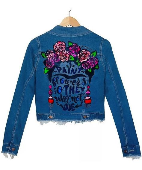 Campera Jean Azul Elastizada Mujer Desflecada Frida Kahlo