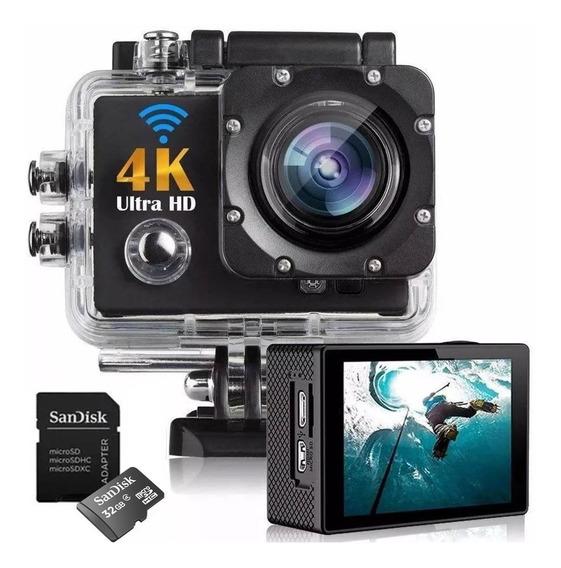 Kit Filmadora Action Câmera 4k + Cartão 32gb Ultra Classe10