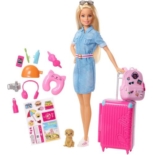 Barbie Vamos De Viaje Con Accesorios Viajera Mattel