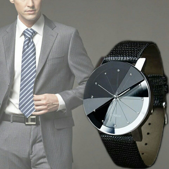 Relógio Masculino Pulseira De Couro Preta Frete Fixo