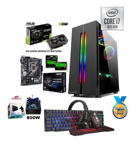 Cpu Gamer Intel Core I7 10ma/1tb+ssd 240gb 8gb Gtx1650s 4gb