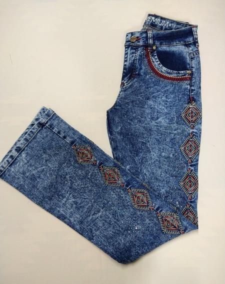 Calça Feminina Alabama Flare Cintura Alta Bordada