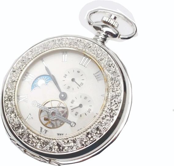 Relógio De Bolso Heritage Corrente Á Corda