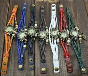 Kit 10 Relógio Feminino Vintage Pulseira Couro Pu Atacado