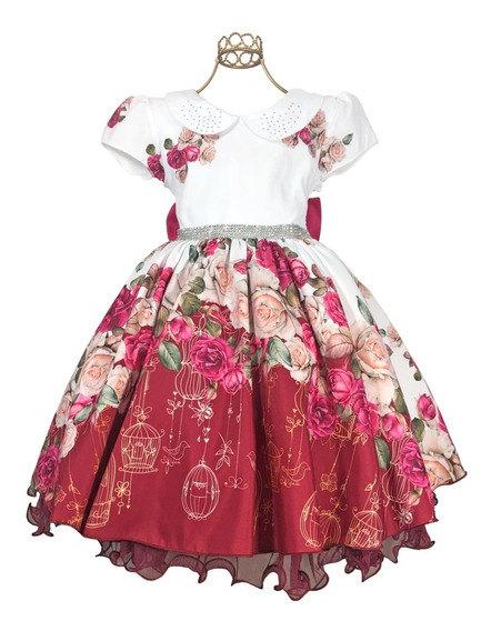 Oferta Vestido Infantil Jardim Lindo Luxo 4 Ao 16 Princesa