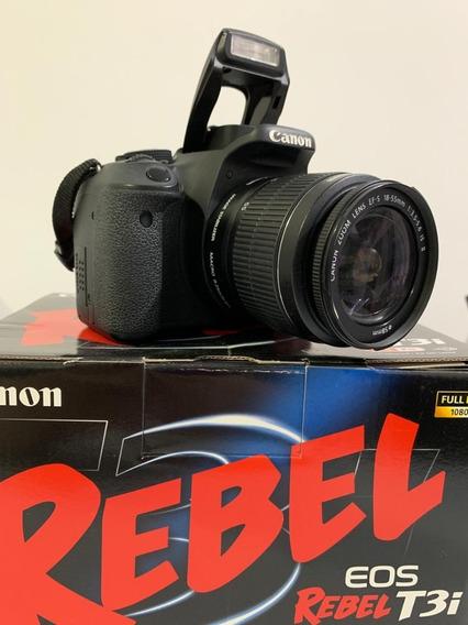 Canon T3i + Lente 18-55mm + Cartão Sd 32gb + Bolsa Lowepro