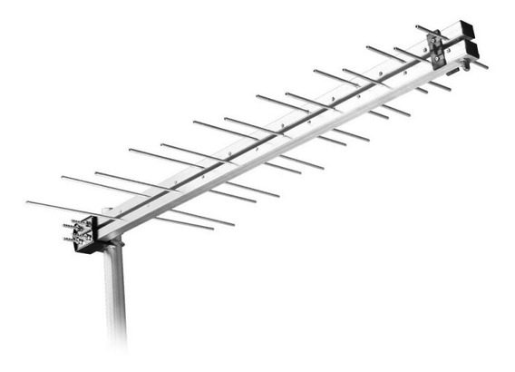 Antena Log Externa Tv 2 Em 1 - 14 Elementos