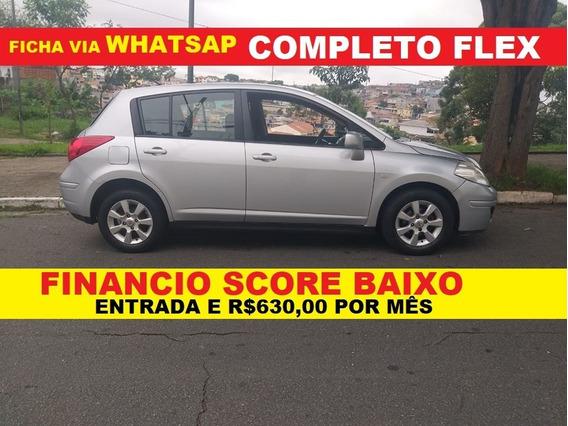 Nissan Tiida Completo Prata Baixa Km Financio Com Score Baix
