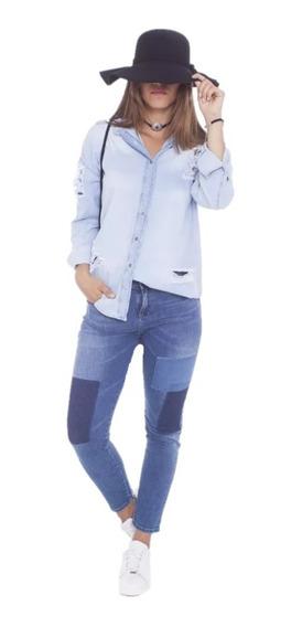 47 Street Pantalon Boyfriend Modelo Ef Patch Elastizado