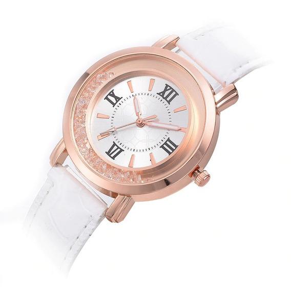 Relógio Feminino Branco Elegante Fino Rose Brilho Strass