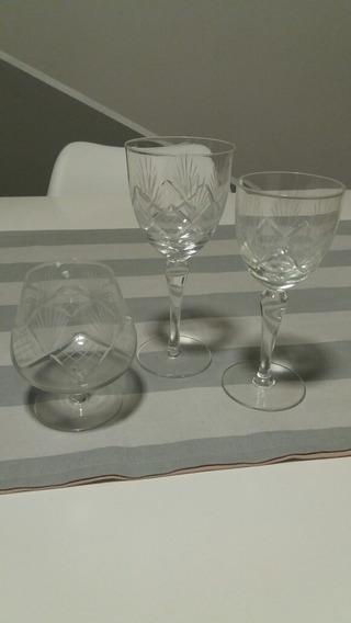 Copas De Cristal Tallado Antiguas