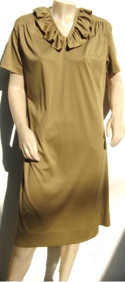 Vestido T50 Vintage Retro Marron Claro C/falla (ana.mar)