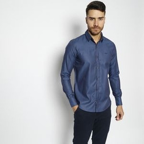 Camisa Vide Bula Classic Maquinetada . - Azul Escuro