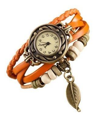 Relógio Bracelete Feminino Pulseira Couro Com Pingente
