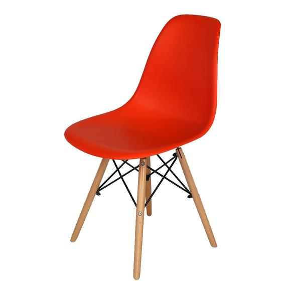 Cadeira Eames Exeway Com Pés De Madeira, Vermelha