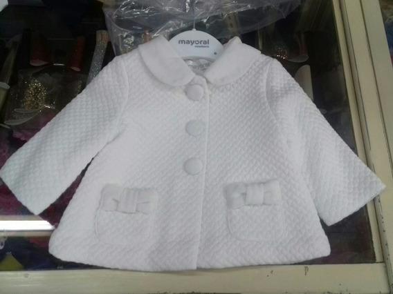 Abrigo Mayoral Bebe Niña 1-2 Meses Amplio Crudo Blanco